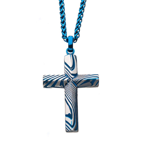 Blue Plated Damascus Cross Pendant with Blue Round Wheat Chain