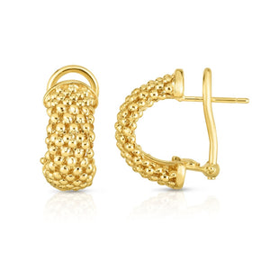14kt Gold Yellow Finish 6x18mm Shiny Popcorn Post Half Moon Earring with Omega Back Clasp