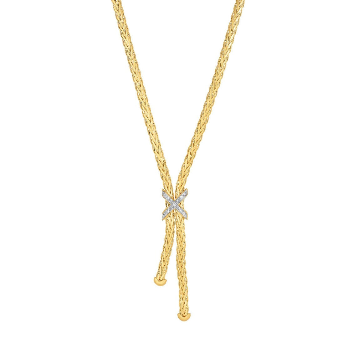 14kt Gold Heritage 17'' Yellow Finish 3mm Shiny Fancy Lariat X Necklace