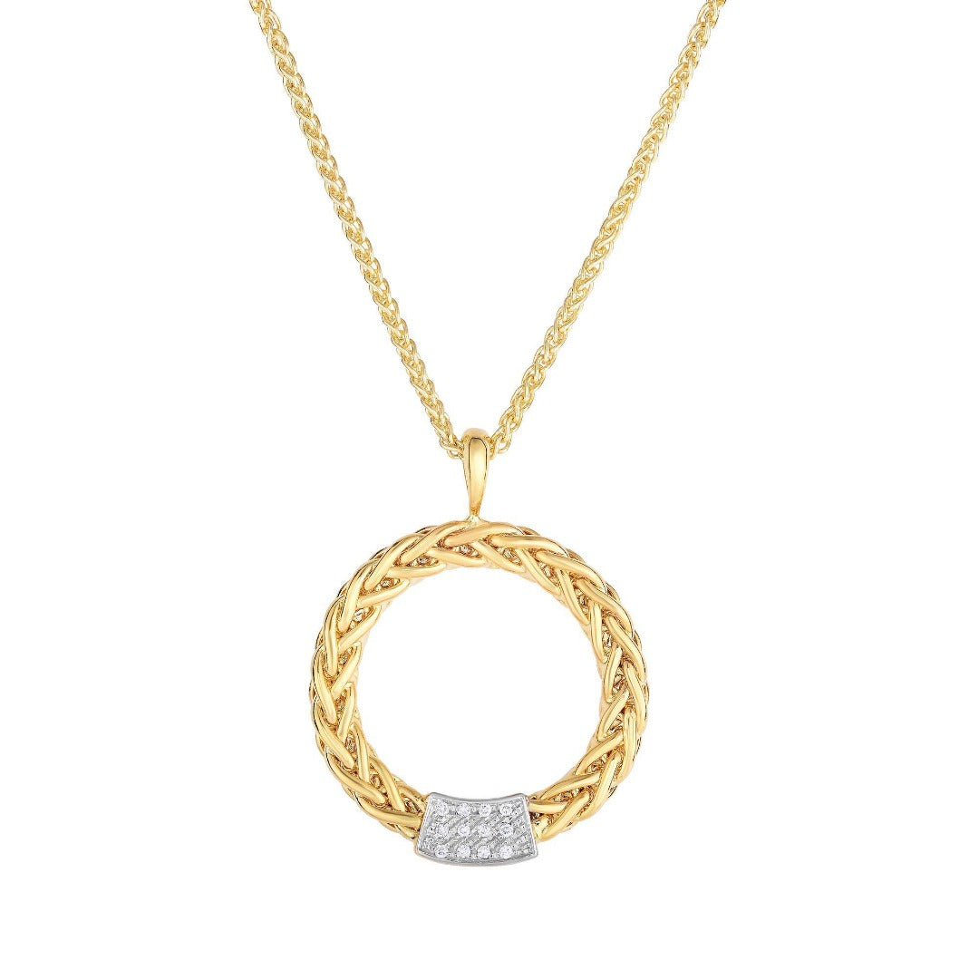 14kt Yellow Gold Finish with Round Open Weave Pendant