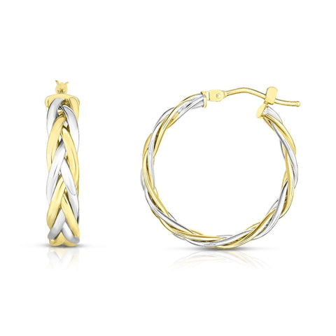14kt Gold Yellow+White Finish Earring