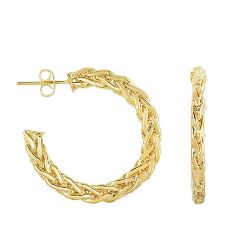 14Kt Yellow Gold Shiny Braided Flat Round Hoop Style Fancy Earring