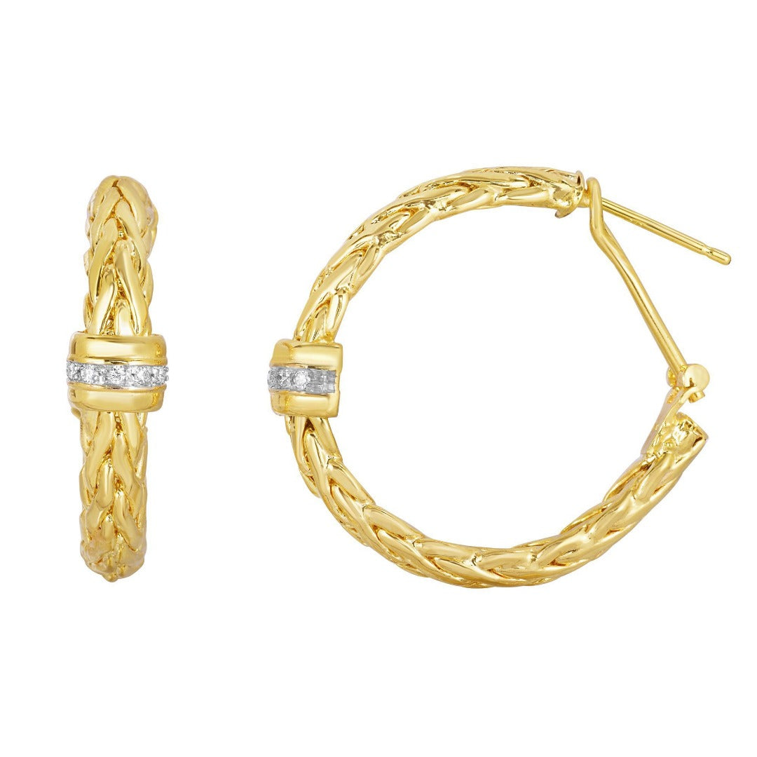 14Kt Yellow Gold 2 Domed Woven Round Fancy Hoop Style Earring with Diamond