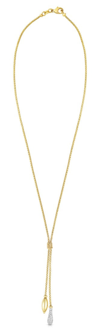 14kt Gold Yellow+White Finish Textured Tear Drop Lariat Popcorn Necklace with White Diamond