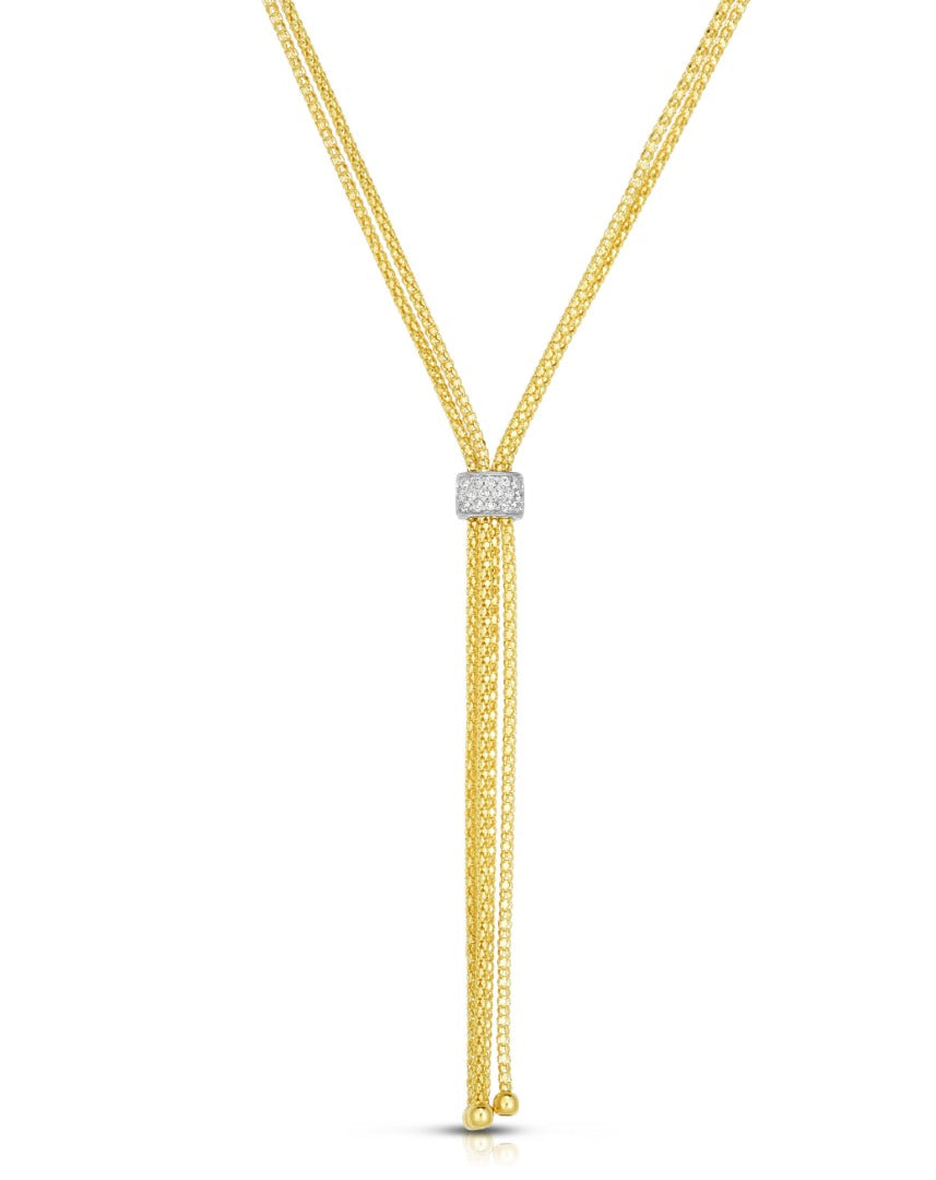 14kt Gold Yellow+White Finish Popcorn Double Strand Lariat Necklace with White Diamond
