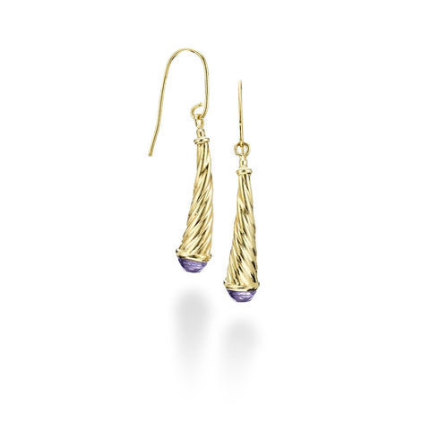 14kt Gold Heritage Finish Shiny Curve Drop Tear Drop Earring with Round Briolette Purple Amethyst