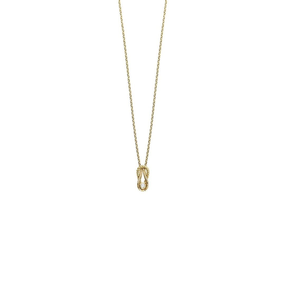 14kt Gold 18'' Yellow Finish Shiny Fancy Necklace with White Diamond