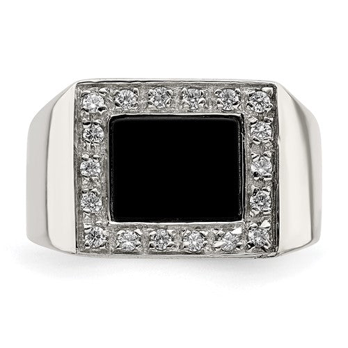 Sterling Silver Men's CZ and Onyx Ring