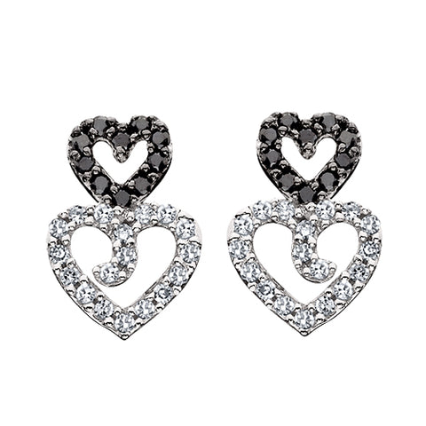 10K White Gold Black & White Diamond Earrings
