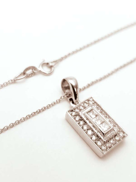 14K White Gold Diamond Chain - 18""