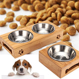 Bamboo and Stainless Steel Dog Food Stand
