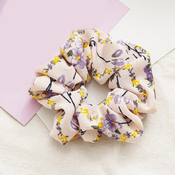 Yellow Floral Print Scrunchie | Ruby and J