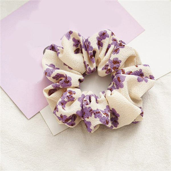 Purple Floral Print Scrunchie | Ruby and J