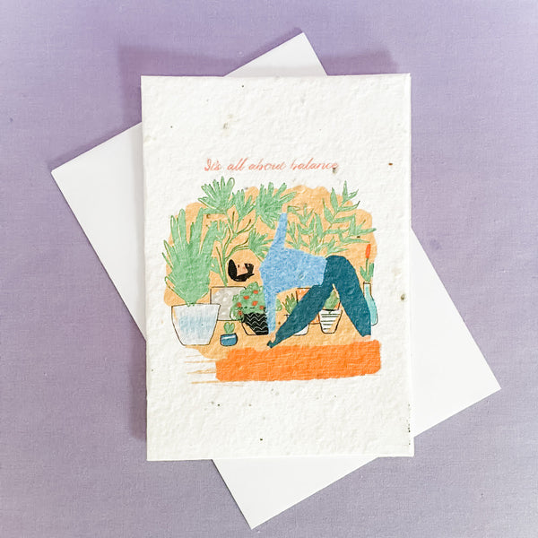 Paper Seed Greeting Card | Triangle Pose | Ruby and J