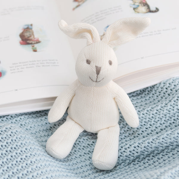 Knitted White Bunny Baby Rattle | Ruby and J