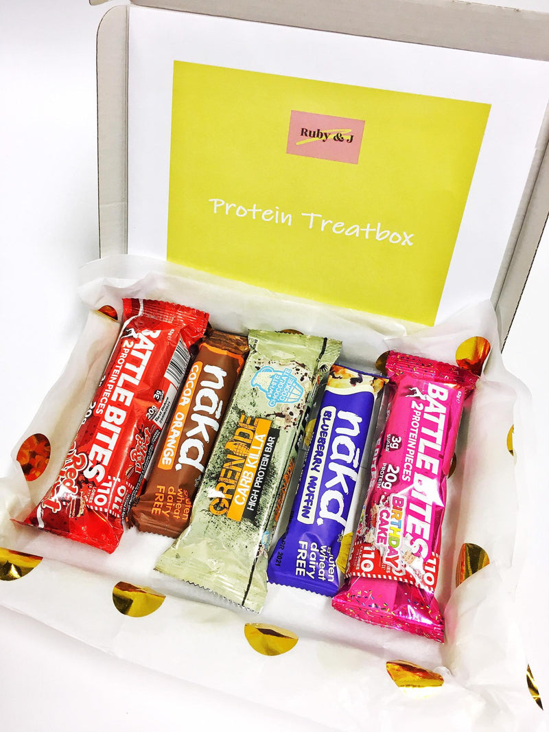 Protein bar selection box - colourful yellow giftbox