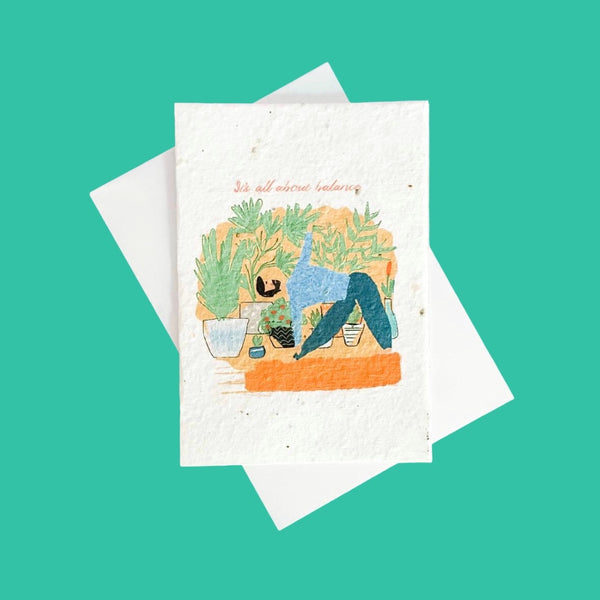 Paper Seed Greeting Card | Triangle Pose