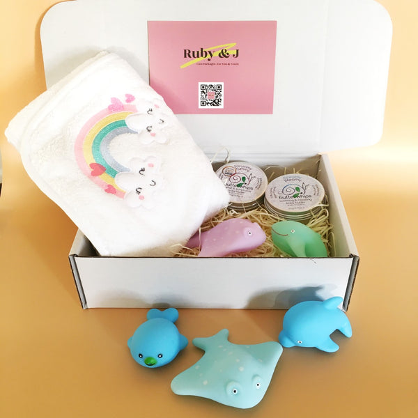 New Baby Bundle: Towel, Toys & TLC | Ruby and J