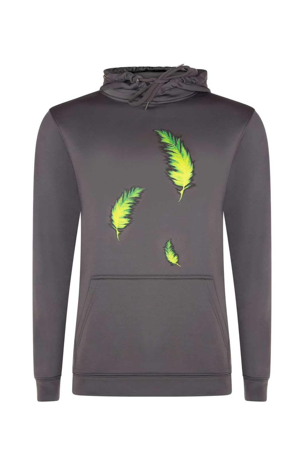 Luxe Neon Feather Charcoal Hoodie