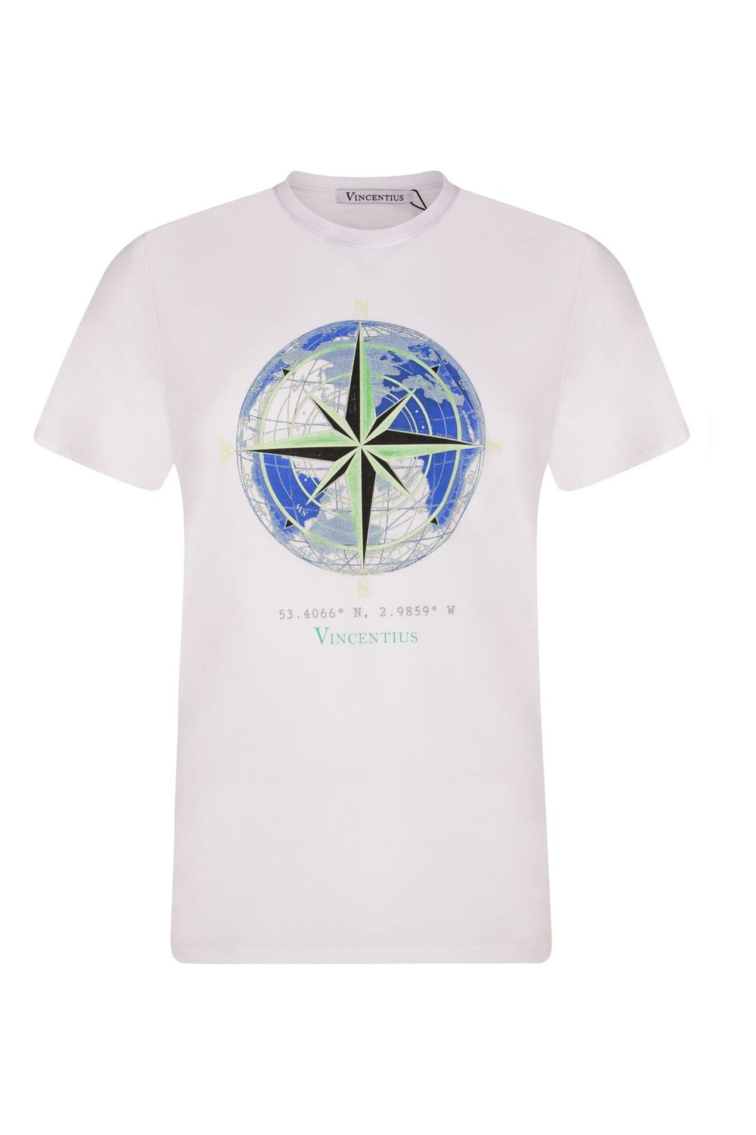 Luxe Compass White T-Shirt