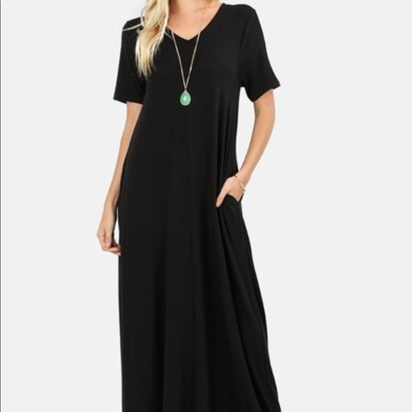 V-neck Maxi Dress with pockets