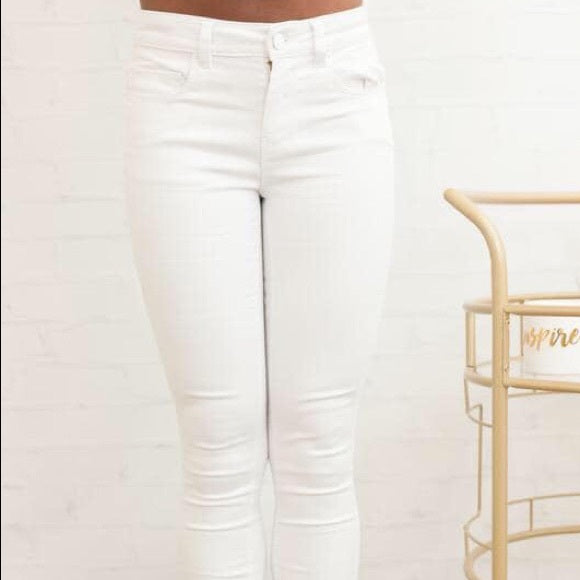 Womens White Blue Age Skinny Jeans