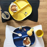 Bamboo Divided Plate with rim - Royal Blue