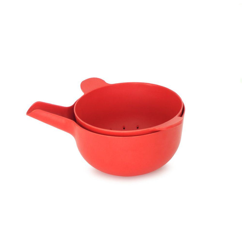 Bamboo Small Mixing Bowl and Colander Set Tomato