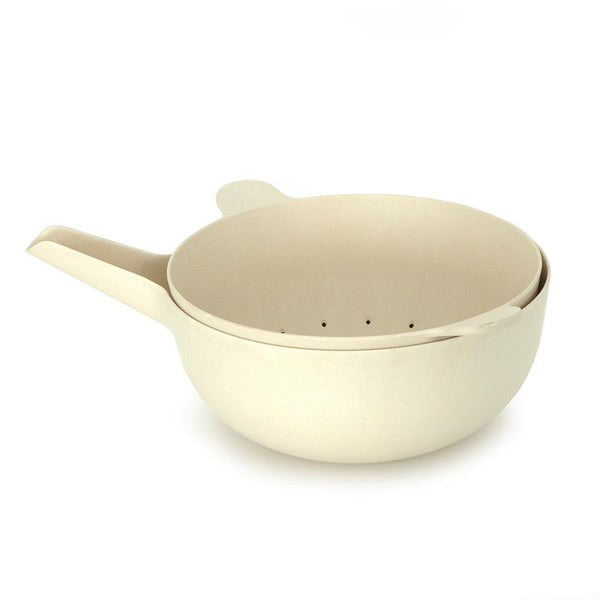 Bamboo Large Mixing Bowl and Colander Set - Off White