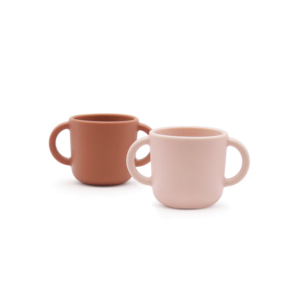 Silicone Training Cup Set - Blush / Terracotta