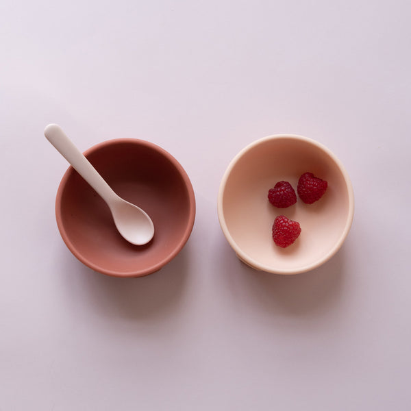 Silicone Suction Bowl Set - Blush / Terracotta