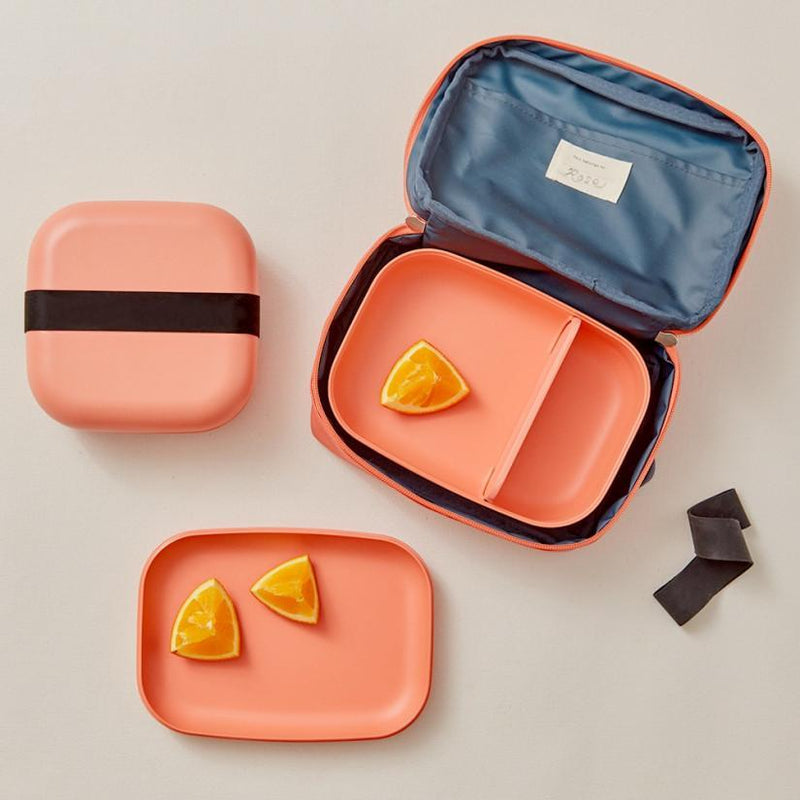 Bamboo Rectangular Bento Lunch Box -  Coral