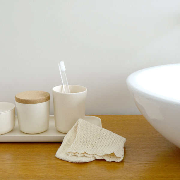 Bamboo Toothbrush Holder / Bathroom Cup - Off White