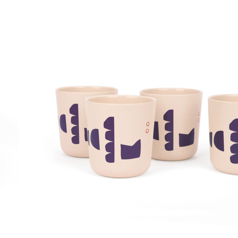 Bamboo Illustrated Medium Cup Set - Blue Series
