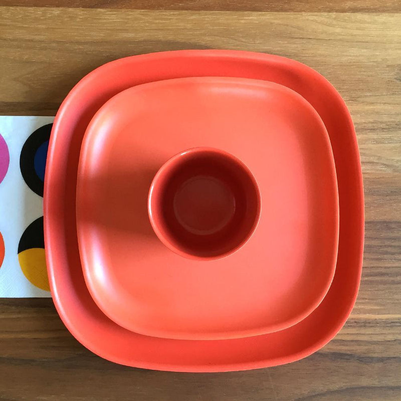 Bamboo Medium Plate - 4 Piece Set - Persimmon