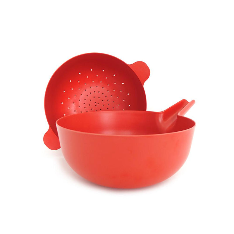 Bamboo Large Mixing Bowl and Colander Set - Tomato
