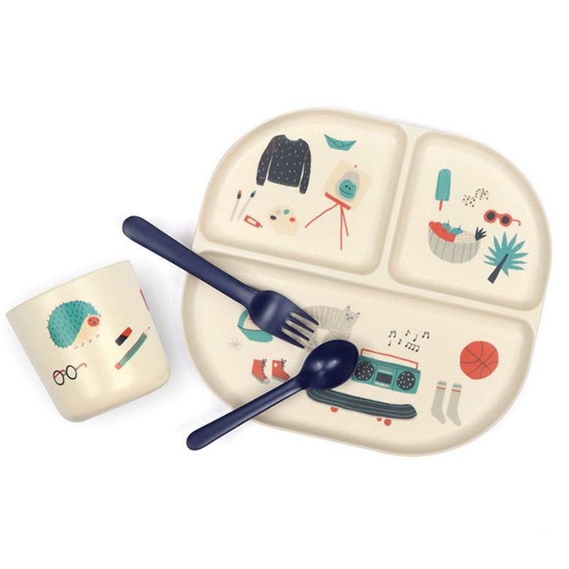Illustrated Bamboo Kid Dinner Set - Royal Blue