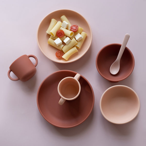 Silicone Suction Plate Set - Blush / Terracotta
