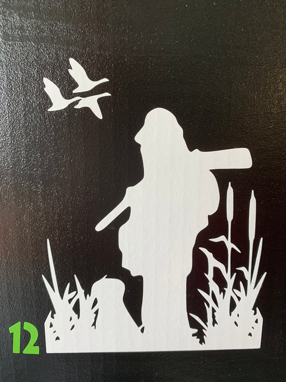 Duck Hunter In Marsh Vinyl Decal