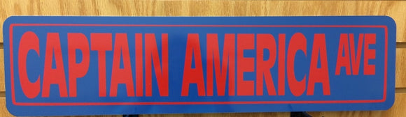 Captain America Ave Metal Street Sign