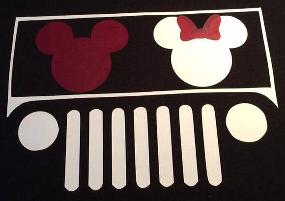 Disney Jeep Logo with Mickey and Minnie Mouse Decal
