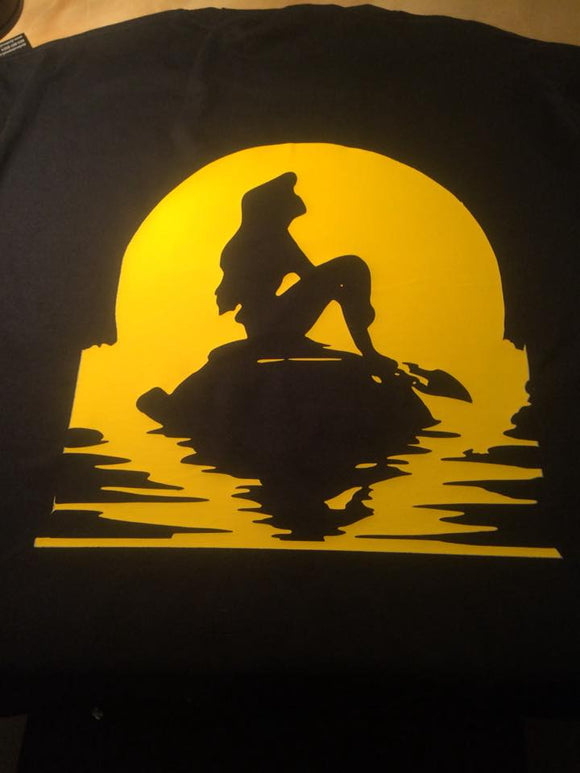 Little Mermaid Sunset Silhouette T-Shirt