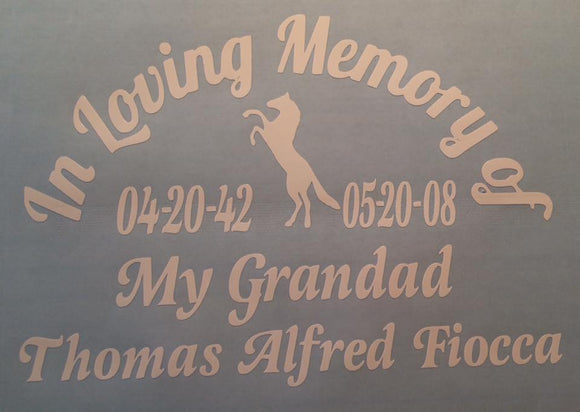 In Loving Memory with Horse Vinyl Decal