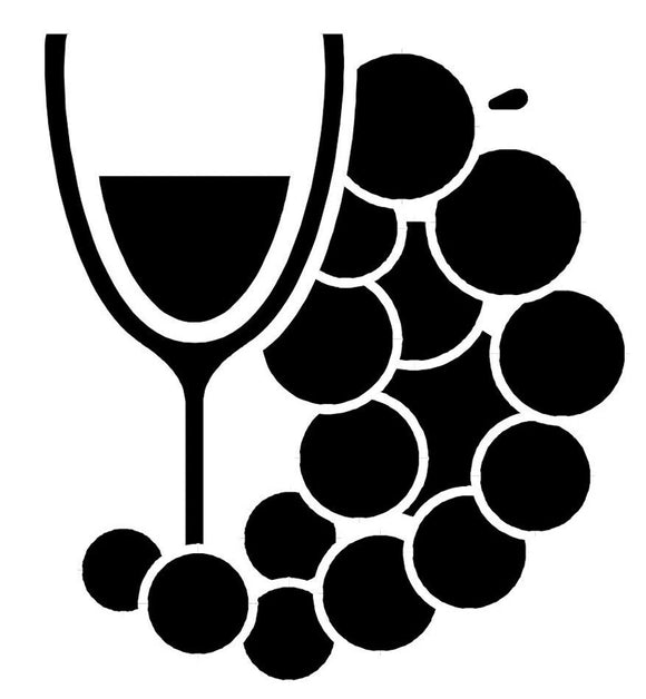 Wine with grapes decal