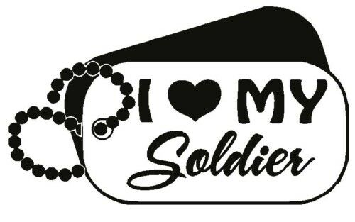 I Love My Soldier with Dog Tags Vinyl Decal