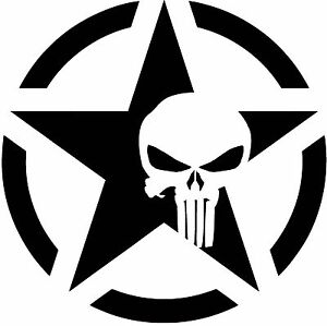 Military Logo with Punisher Logo Vinyl Decal
