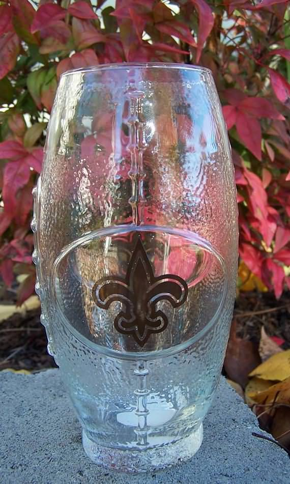 NFL New Orleans Saints Football Glass
