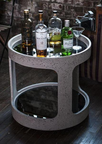 Open Bar Crushed Glass Concrete Bar Cart