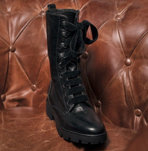CARLOTA BLACK LEATHER BIKER BOOT 4CM