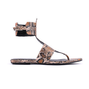 SANDRA FLAT SANDAL RED PYTHON PRINTED LEATHER EFFECT